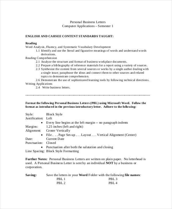 Sample Professional Business Letter   Examples In Word Pdf