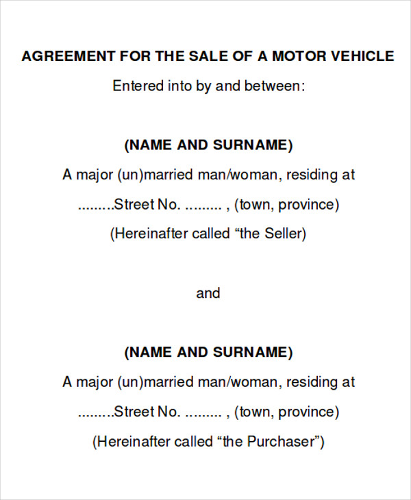 car sales contract example