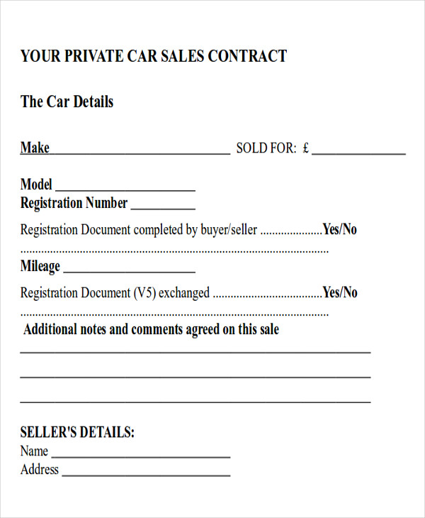 car sales payment contract