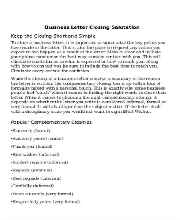 Sample Business Letter Salutation