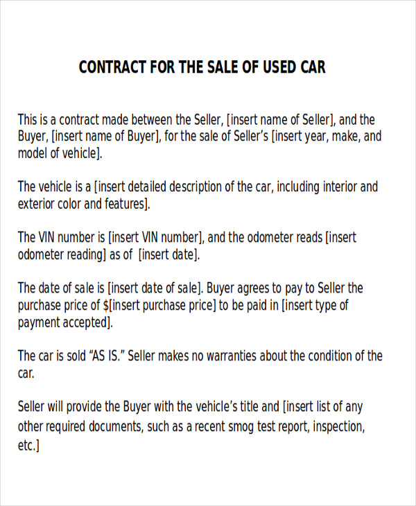 Used Car Sales Agreement Contract Sample  Car Purchase Agreement With Payments
