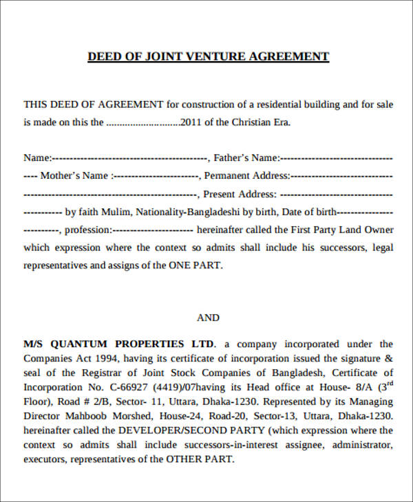 Sample Deed Of Joint Venture Agreement  Joint Venture Agreements Sample