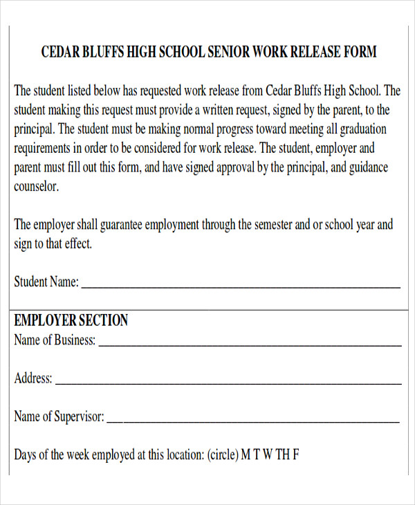 Work Release Form Sample - 9+ Examples In Word, Pdf