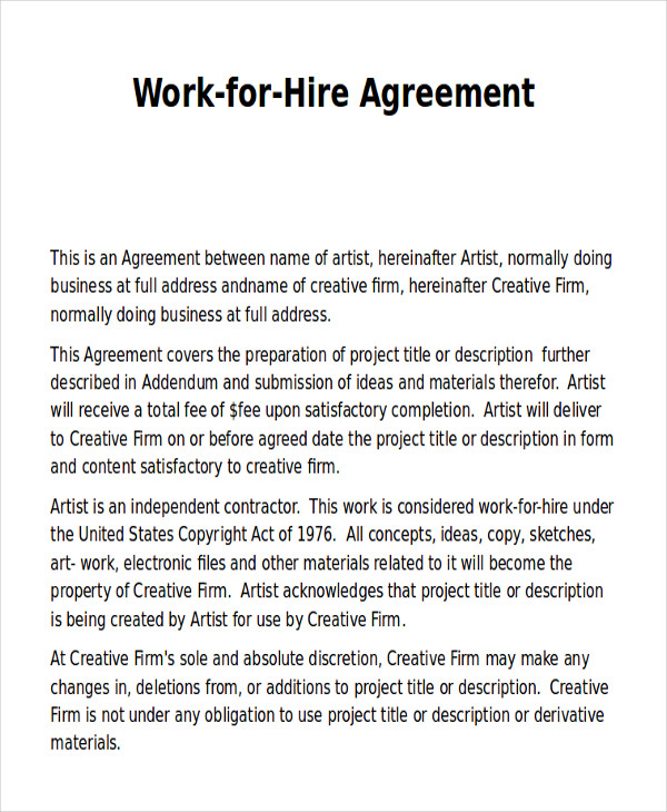 work for hire agreement form pdf