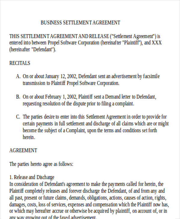 8 settlement agreement sample examples in word pdf business settlement agreement sample platinumwayz