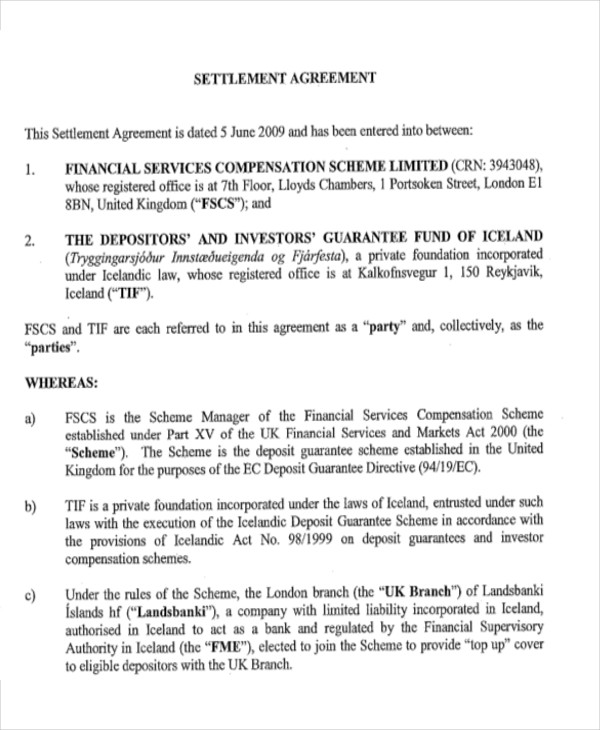 8 settlement agreement sample examples in word pdf financial settlement agreement in pdf platinumwayz