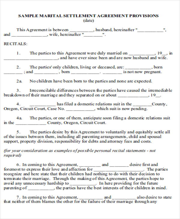 6 Divorce Agreement Samples