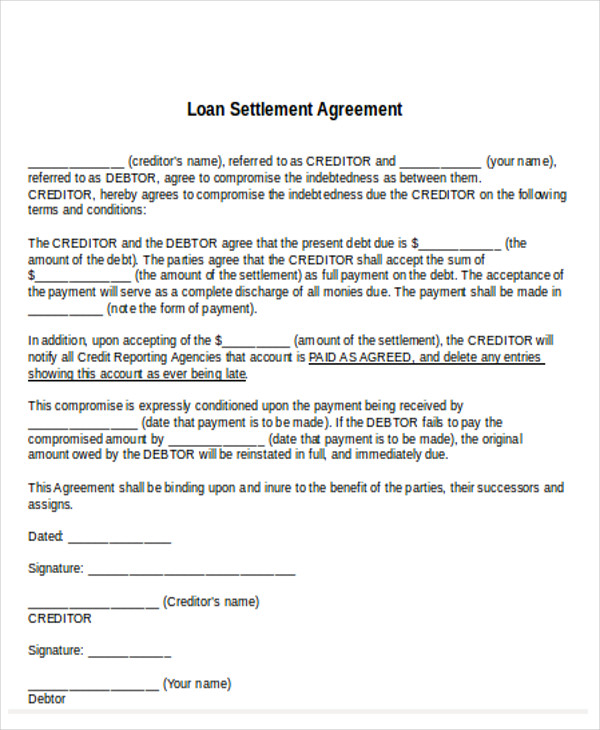 loan settlement agreement example