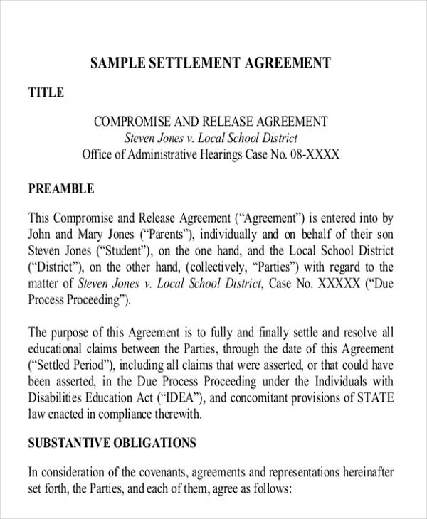 Settlement Agreement Sample Examples In Word Pdf