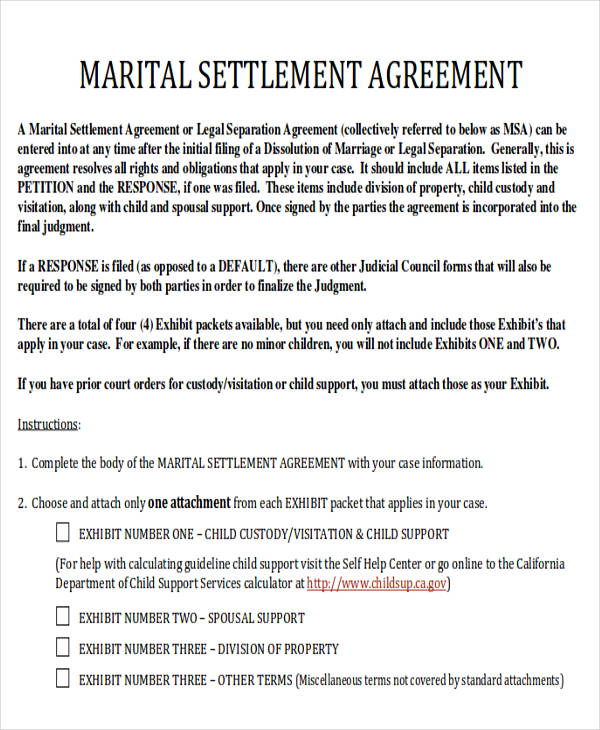 6 divorce agreement samples sample templates for Seperation agreement template