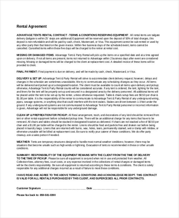 rental business agreement