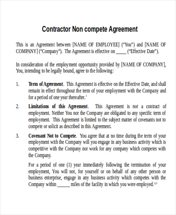 contractor non compete agreement