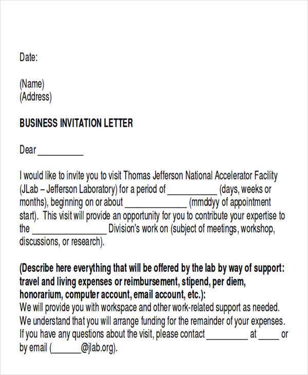 business appointment invitation letter