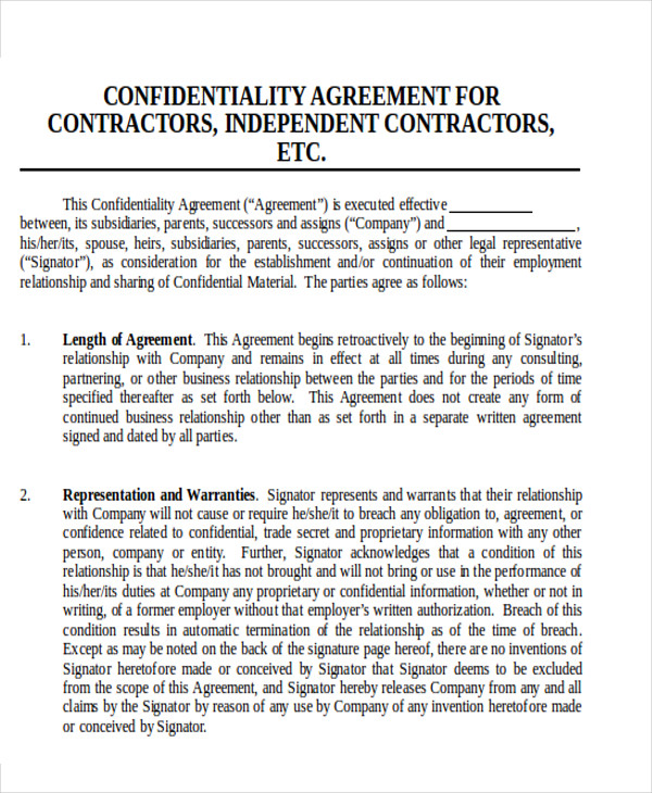 contractor confidentiality agreement1