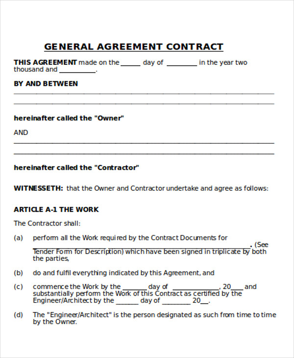 10 Sample Contractor Agreement
