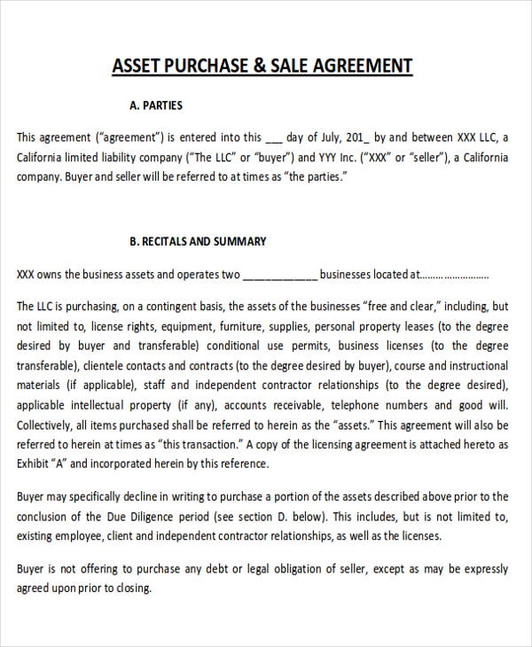 sample purchase and sale of business asset agreement