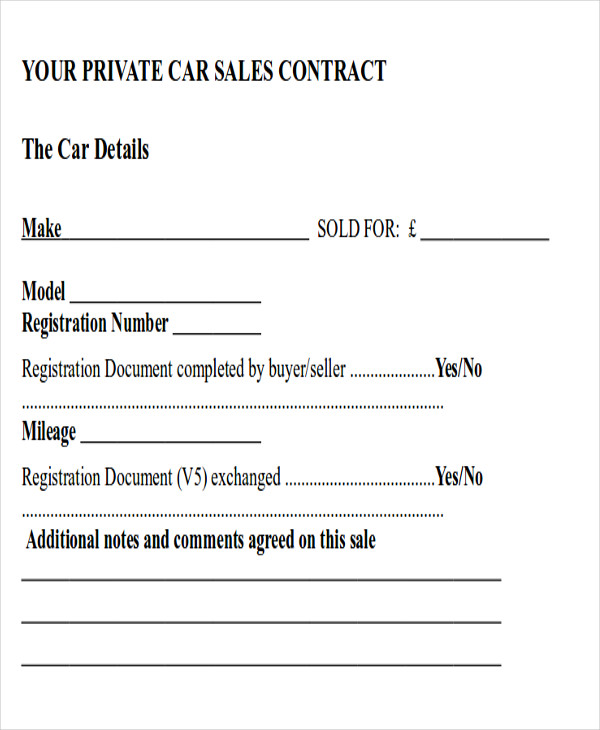 private party car sale contract template 8 sample automobile sales contracts sample templates