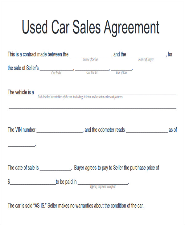 Doc728950 Vehicle Agreement of Sale The Used car Sales – Car Sale Agreement Sample