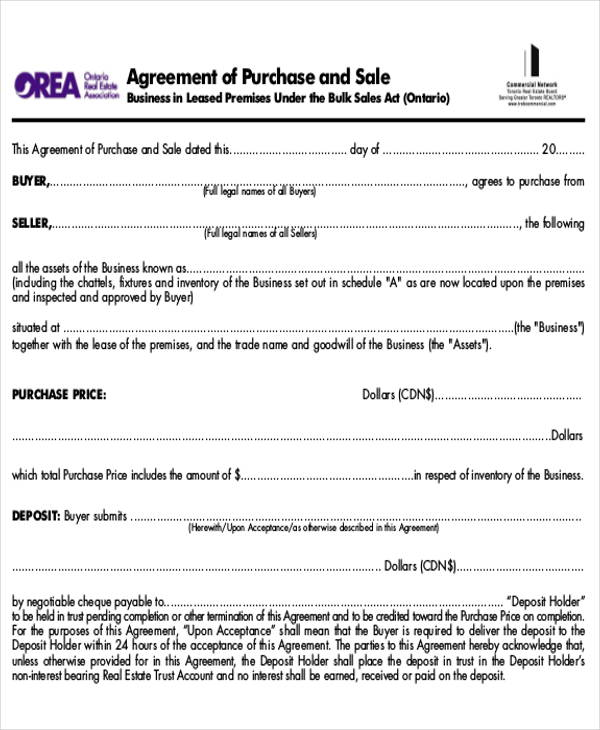 Sample Purchase And Sale Of Business Agreements  Examples In