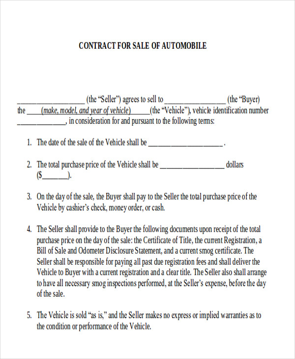 sample automobile sales contracts