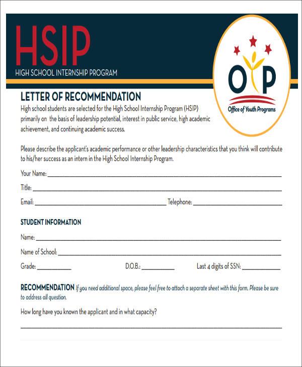 sample letter of recommendation for internship program