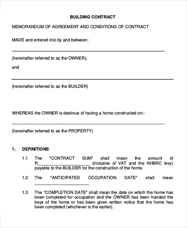 building contractor agreement