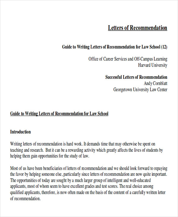 Sample Law School Letter of Re mendation 6 Examples in Word PDF