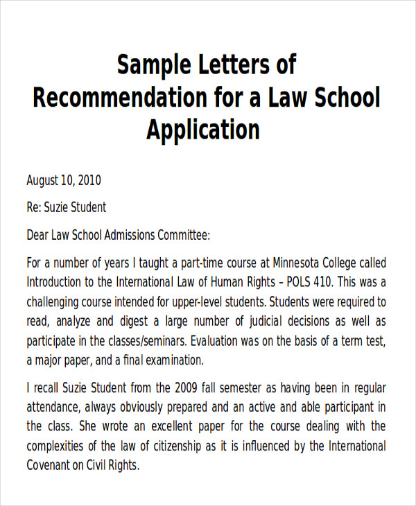 Sample Law School Letter Of Recommendation   Examples In Word Pdf
