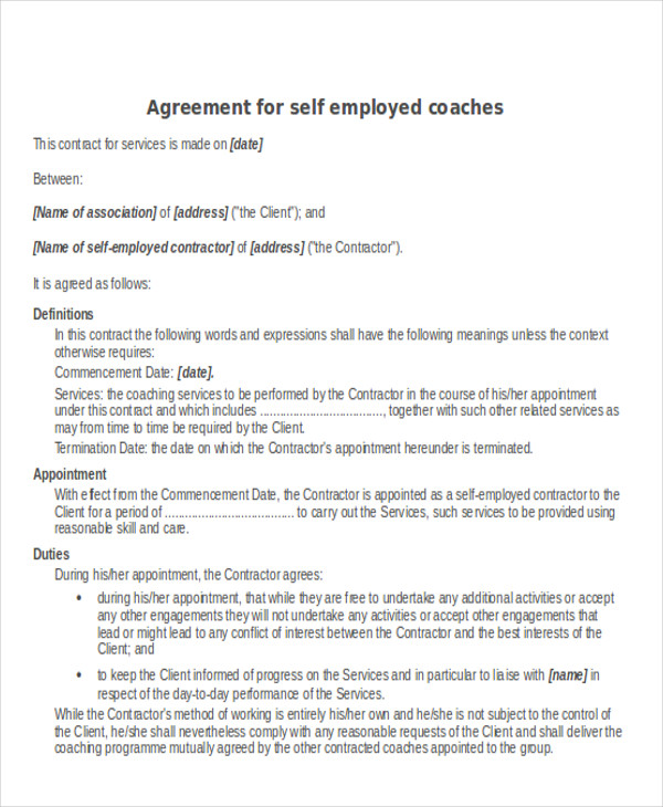 self employed contractor agreement