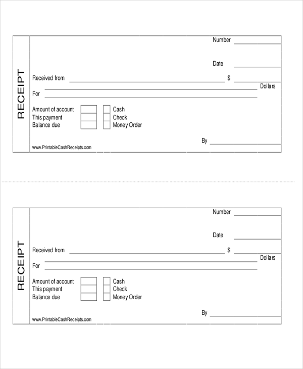 8 cash payment receipts sample templates for Receipts for payments template