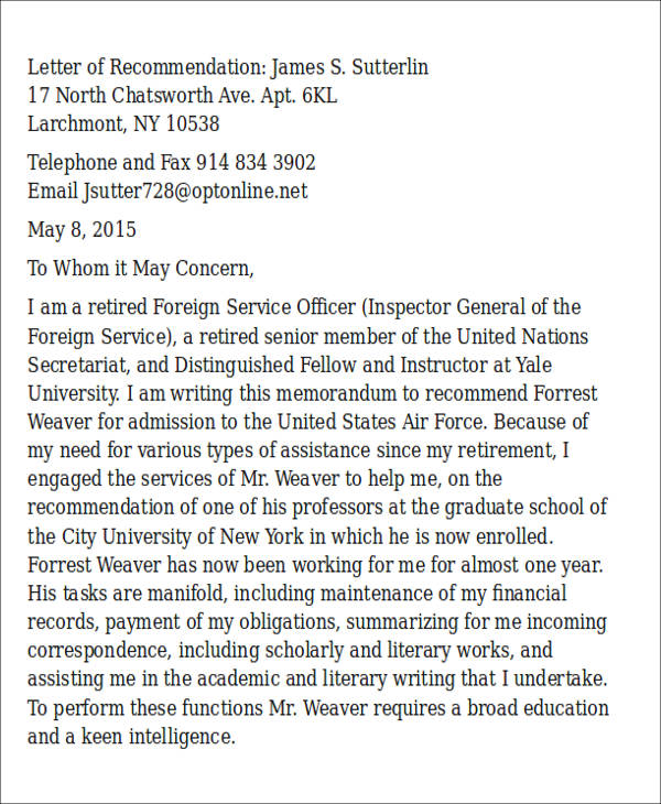 free 6  sample air force letter of recommendation in ms word