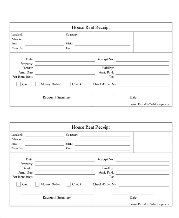 payment receipt format for property