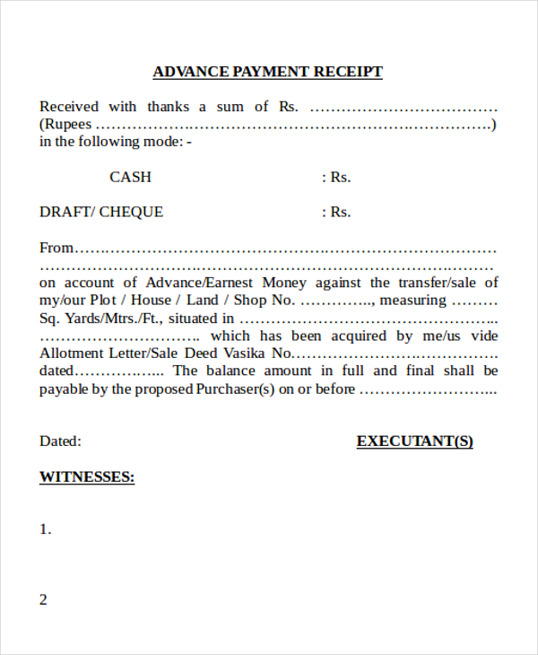Advance Cash Payment Receipt Form In Doc  Money Receipt Letter
