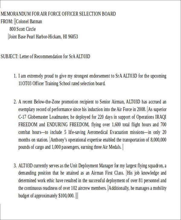 Sample Air Force Letter Of Recommendation   Examples In Word Pdf