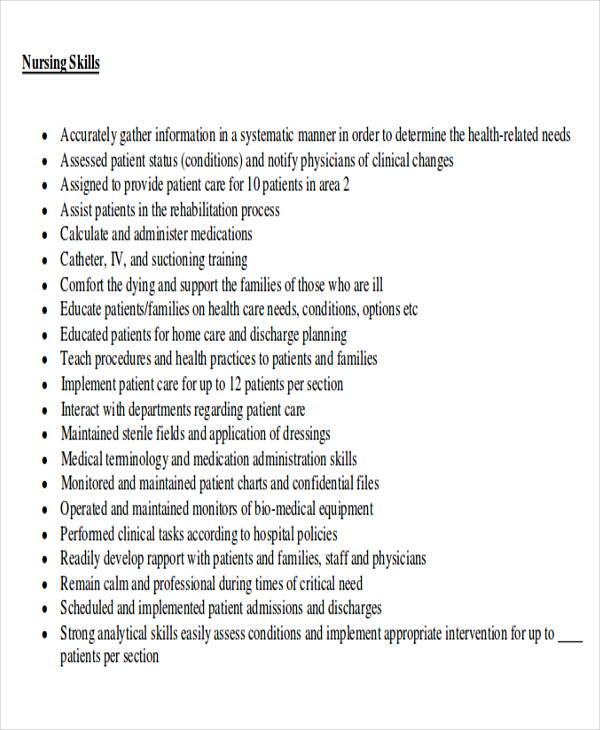 rn resume skills pdf