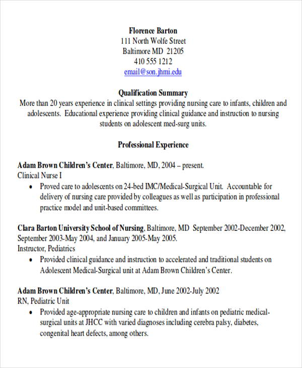 rn experience resume