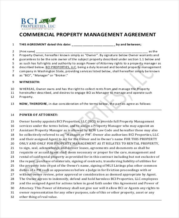 Sample Commercial Property Management Agreement Examples In