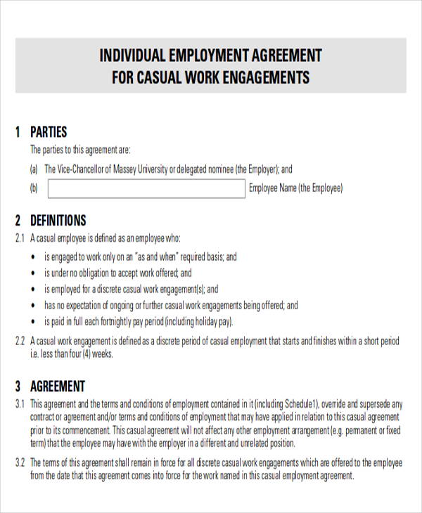 Marvelous Sample Casual Employment Agreement Great Ideas