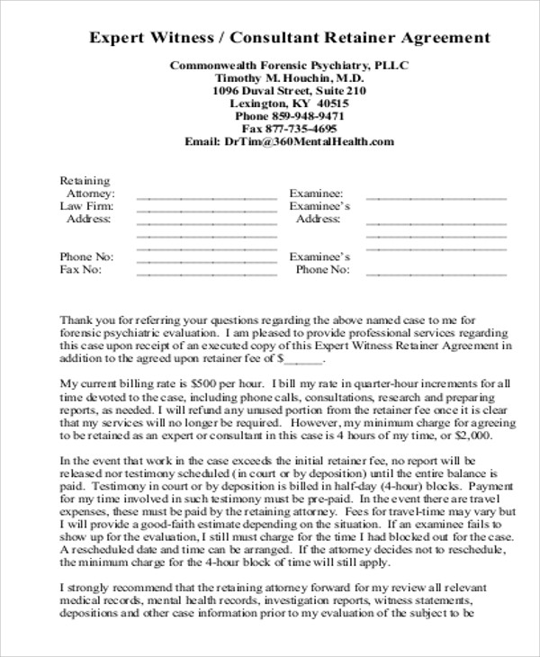 consulting expert retainer agreement pdf