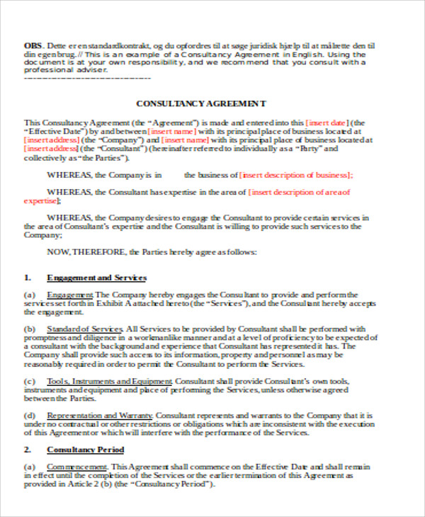 Sample Consulting Retainer Agreements   Examples In Word Pdf