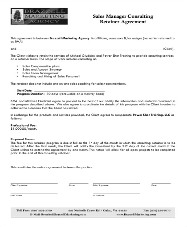 consulting retainer agreement templates - 9 sample consulting retainer agreements sample templates