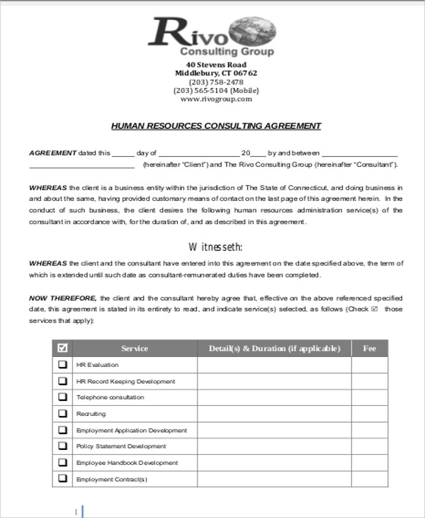 Sample Consulting Retainer Agreements 9 Examples in Word PDF – Retainer Agreement Template