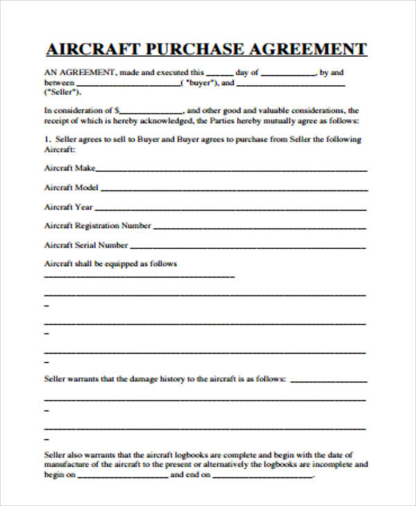 9 Sample Purchase Agreements – PDF DOC