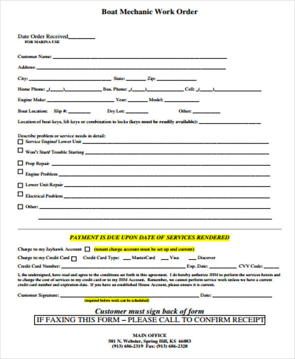 sample work order form