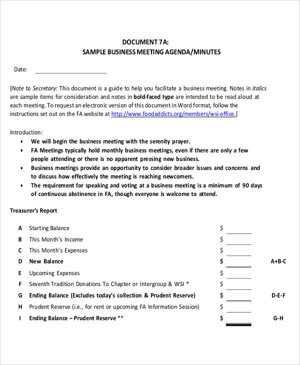Meeting Agenda Sample   Examples In Word Pdf