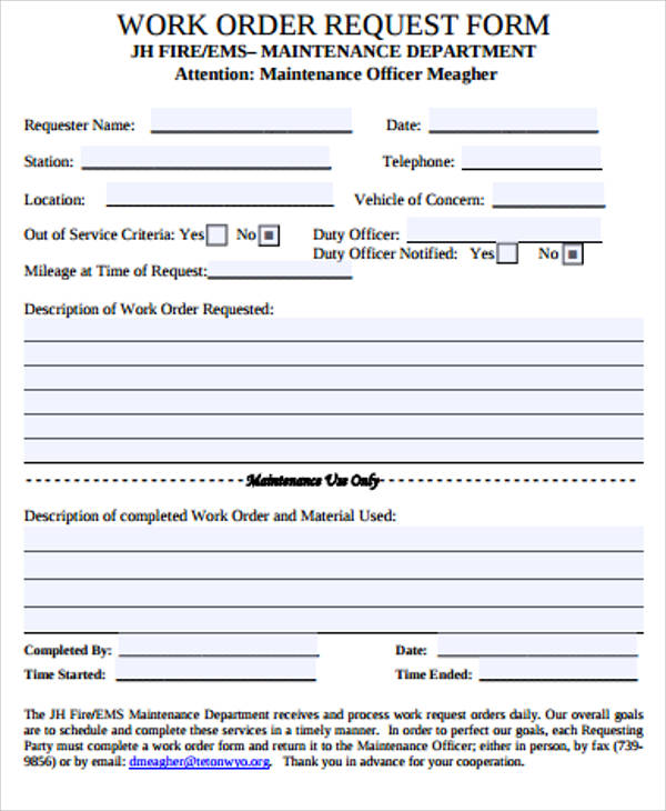 Sample Work Order Form 10 Free Sample Example Format – Maintenance Work Order Form