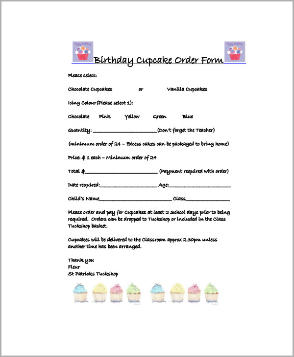 Sample Cupcake Order Form   Examples In Word Pdf