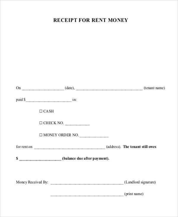 Rent Money Payment Receipt  Cash Paid Receipt