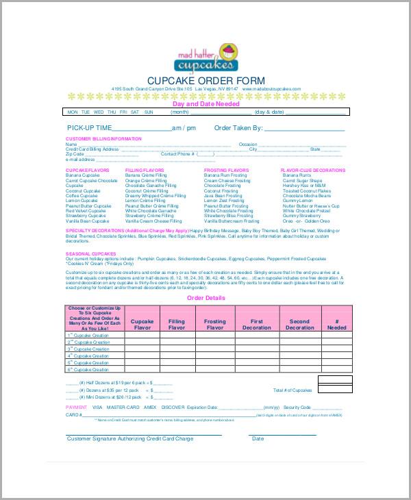 Amazing Sample Cupcake Drive Order Form1