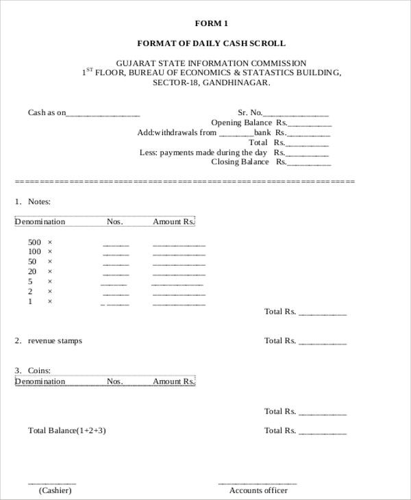cash payment receipt form example